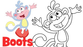 How to draw cartoons Boots Dora the Explorer characters step by step easy drawing for kids