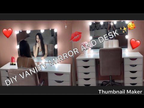 DIY VANITY DESK AND MIRROR WITH LED LIGHTS DUPE