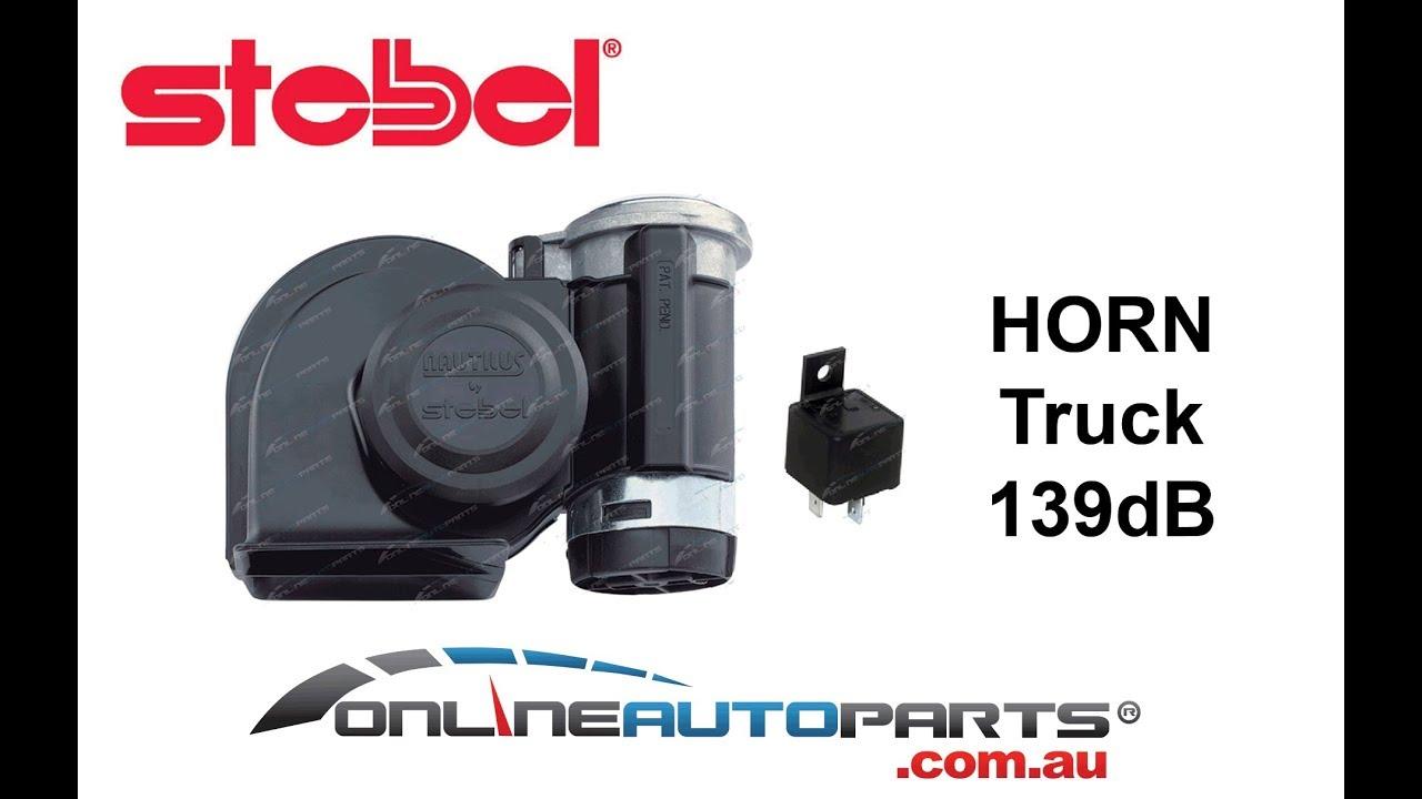 stebel nautilus truck air horn black 24 volt 139db loud new w relay compressor [ 1280 x 720 Pixel ]