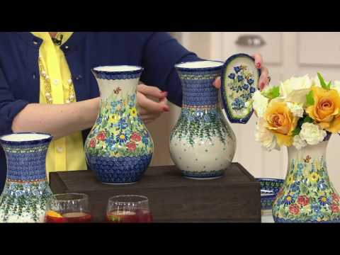 "Lidia's Polish Pottery Hand Painted 9"" Vase on QVC"