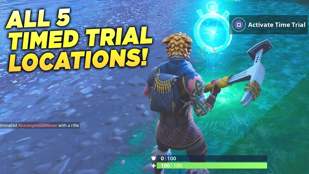 All 5 Timed Trial Locations Complete Timed Trials Fortnite Week 6