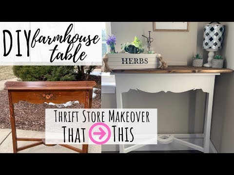 DIY Thrift Store Flip - Wood-Topped Farmhouse Table $12!