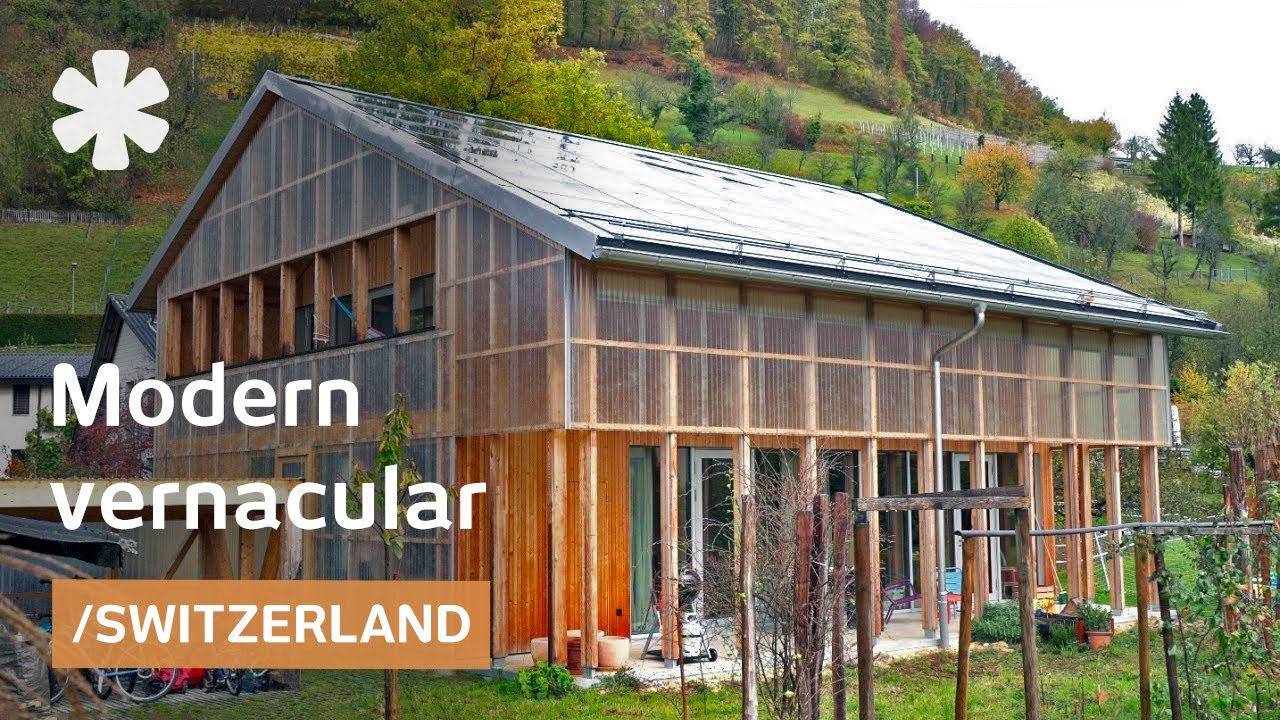 Translucent Swiss barn-modern home regulates views & climate on barn with ramp, trailer with ramp, brick home with ramp,