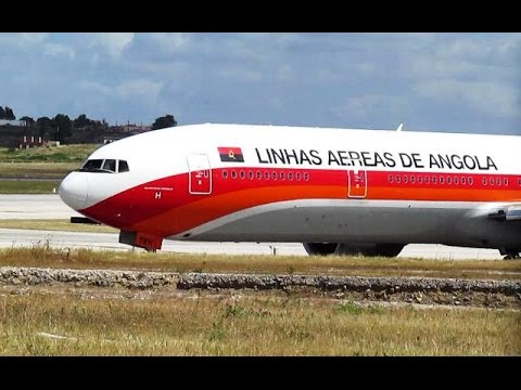 TAAG Angola Boeing 777-300ER Take off at Lisbon Airport RWY 03