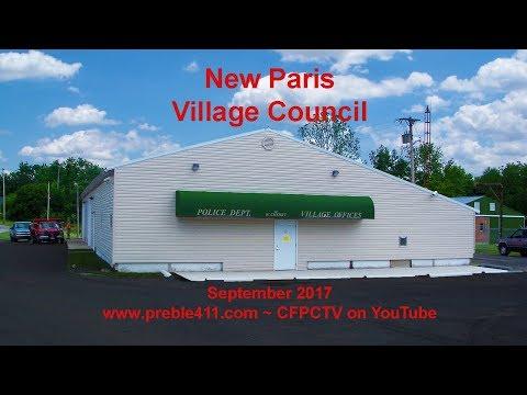 New Paris Ohio village council September 2017 meeting