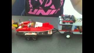 Lego speed boat with boat trailer
