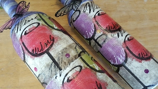 Mod Podge Wine Bottle using Dollar Tree Napkins - Upcycle Crafts
