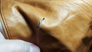 лайфхак. Как починить кожаную куртку, сумку.( зашить, заделать порез, дырку)