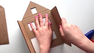 4 ideas for miniature houses | DIY Miniature cardboard house | Cardboard craft idea