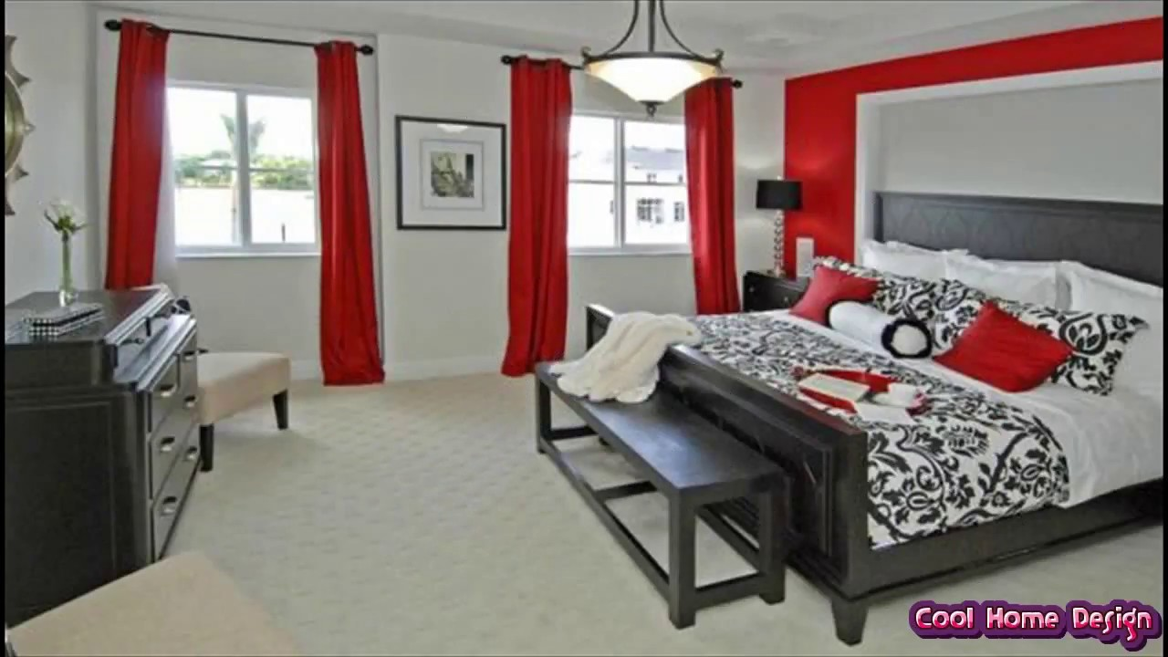 gray black and red bedroom color scheme