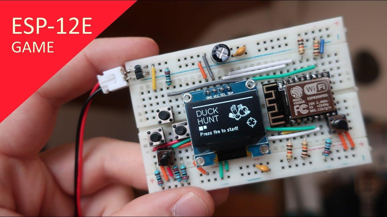 ESP-12E Duck Hunt game! How to make and program using NodeMcu ESP 8266
