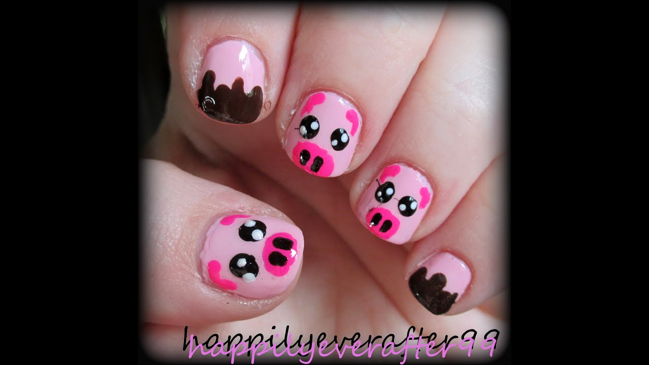 Cute Pig Nail Art Designs : Cute piggy nail art for short nails youtube