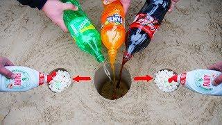 Experiment: Coca Cola, Fanta, Sprite, and Mentos vs Liquid Soap in a different Holes Underground