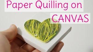 Paper Quilling on Canvas - Yellow Green Heart