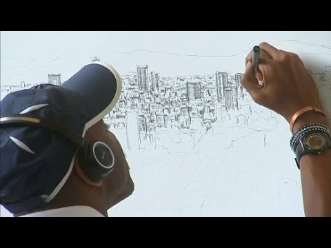Lebende Kamera Künstler Zeichnet Mexiko Stadt Aus Dem Kopf