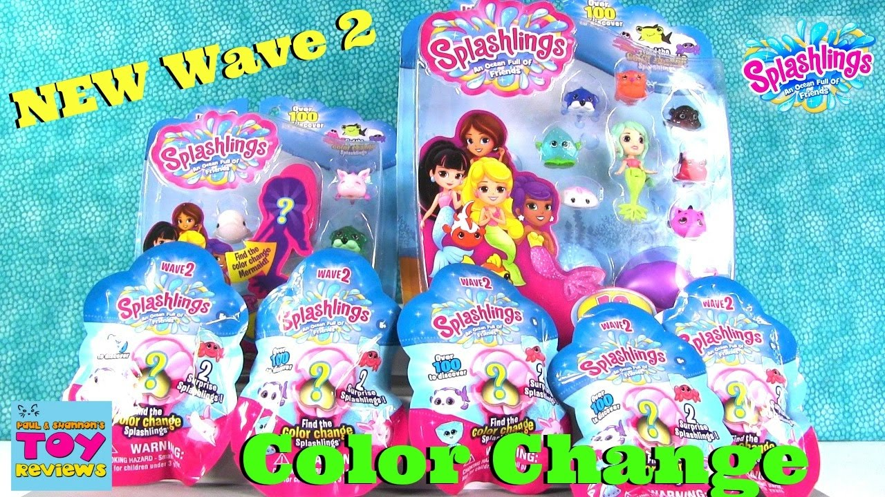 wave 2 splashlings color change mermaid 2 6 12 pack blind bag opening toy review pstoyreviews youtube