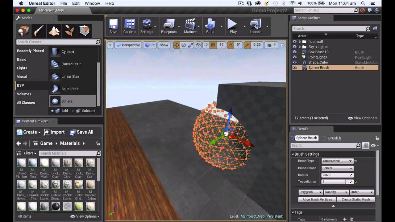 UE4 Tutorial: Geometry Brush (BSP) Intro (4 10)