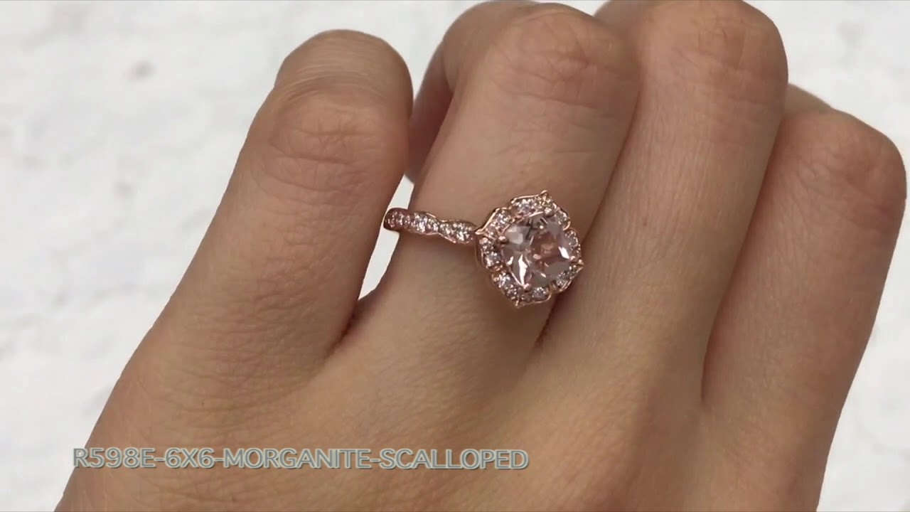 5adc08420fa Mini Vintage Floral Scalloped Morganite Ring in Rose Gold