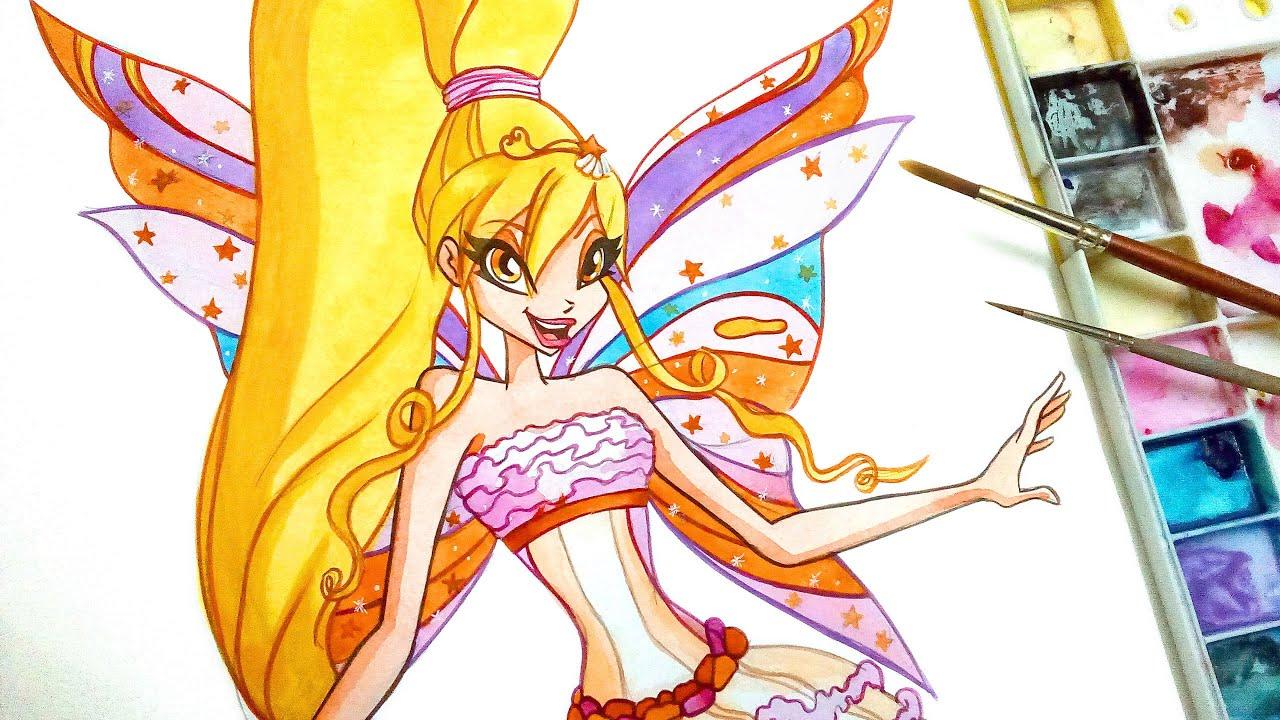 Winxclub Drawing How To Draw Stella Harmonix Youtube