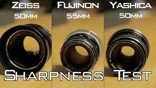 Sharpness Test: Zeiss Planar vs. Fuji 55mm vs. Yashica 50mm