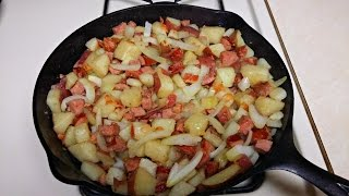 Cast Iron Cooking Kielbasa And Potatoes Recipe