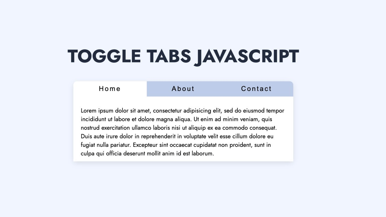 How to Build Tabs using Javascript | HTML & CSS