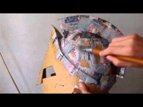 How to make Cardboard Helmet of King Leonidas Part 3 - Paper Mache