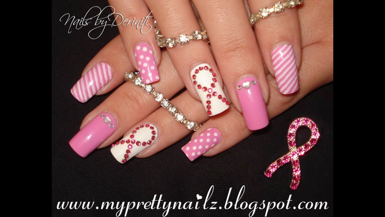 Breast Cancer Awareness Nails Think Pink Ribbon Nail Art Tutorial ...