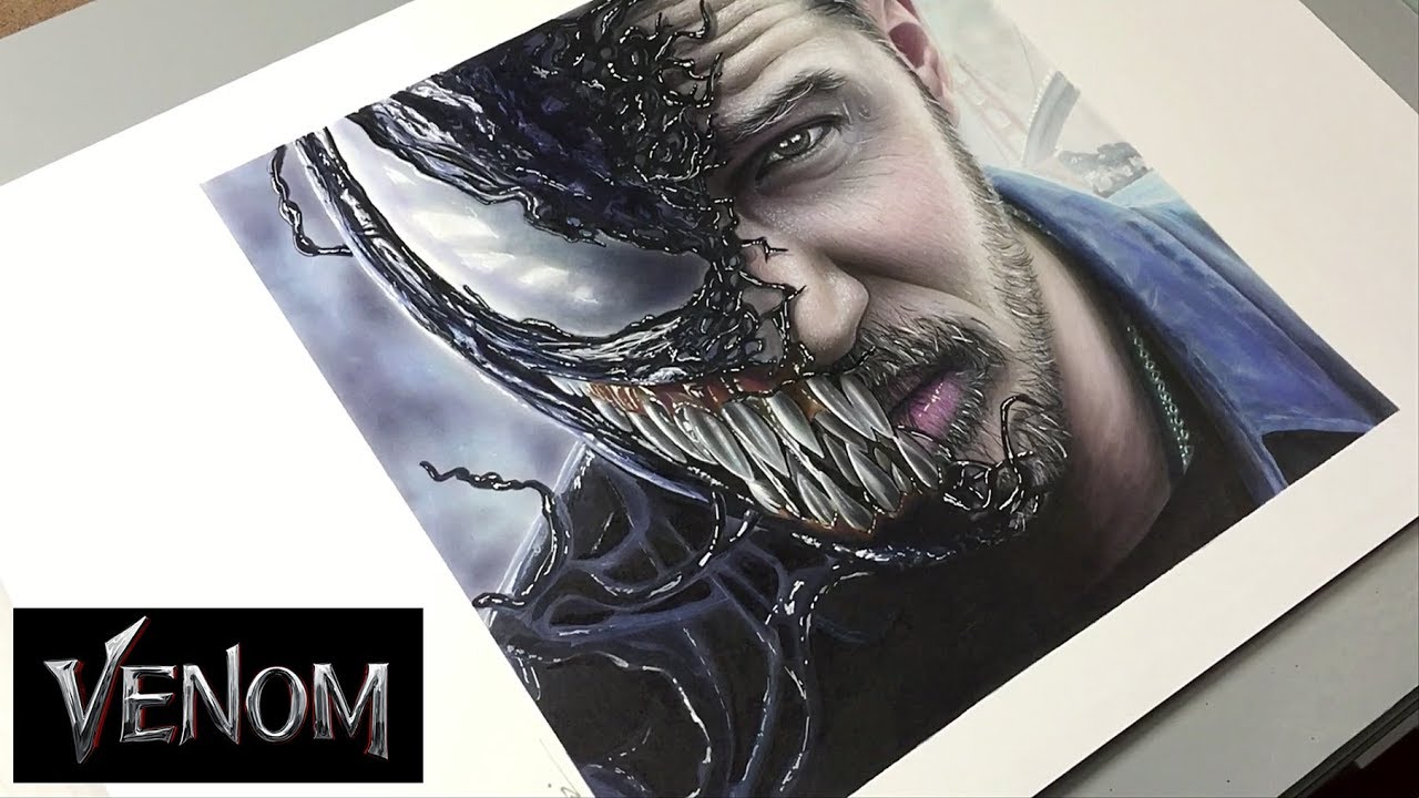 Venom 2018 Tom Hardy Time Lapse Speed Drawing Leonello Calvetti Youtube