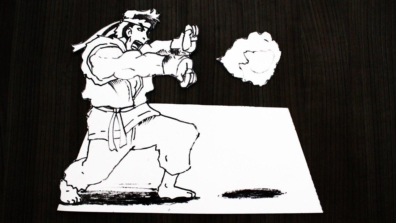 Como Desenhar O Ryu Dando Hadouken Em 3d How To Draw 3d Ryu