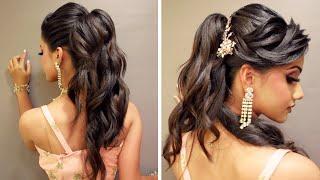 Bridal Hairstyle- Half Tie Western Curl Setting #HalfTiePonytail #WesternCurls #HarshanRakesh