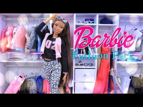 Unbox Daily:  Barbie Fashion Pack Doll Accessories - Clothing Haul - Review - 4K