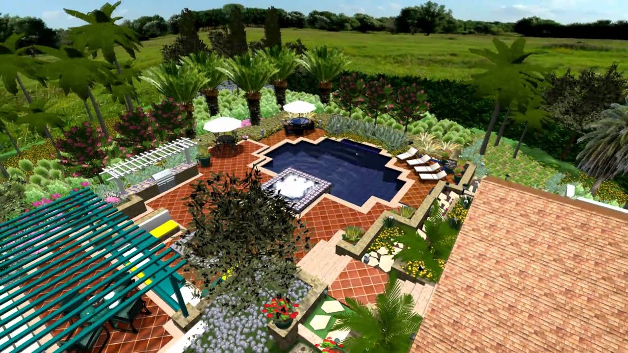 Virtual presentation studio spanish villa in 3d landscape for Landscape villa design