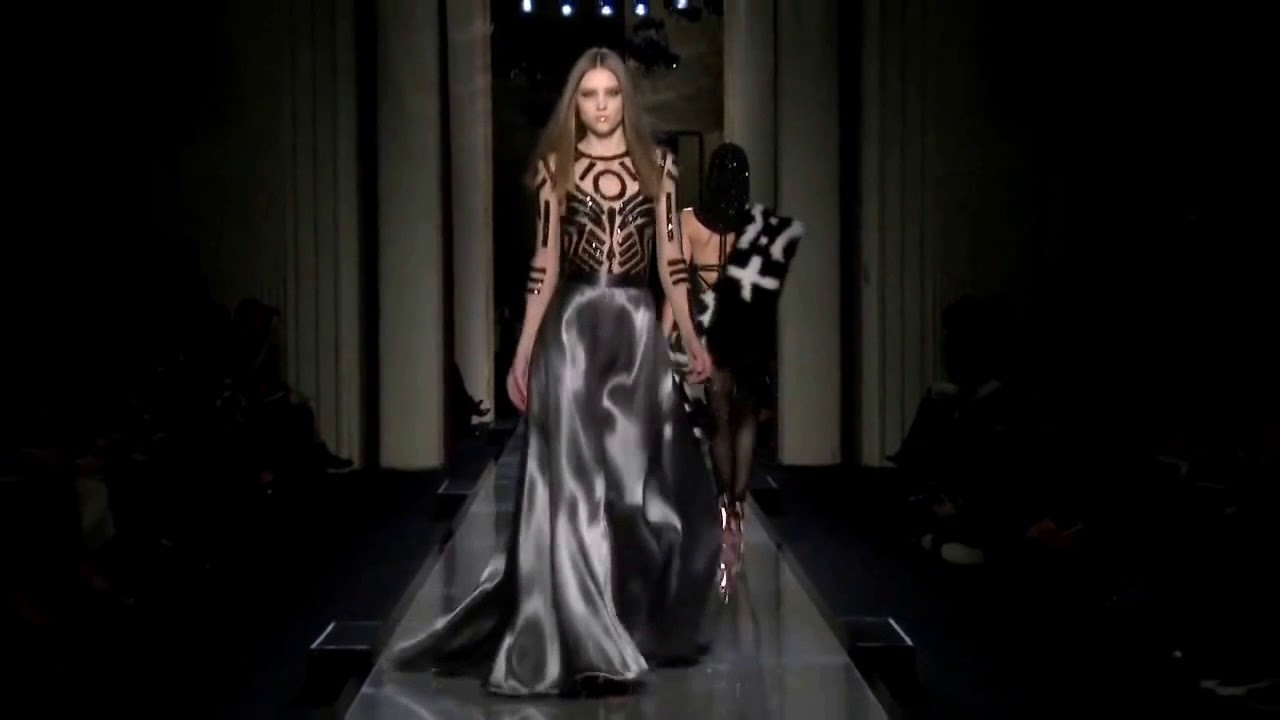 Hot runway model wearing silver satin evening gown-- Atelier Versace ...