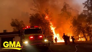 Fierce winds fuel new fires in California wine country l GMA