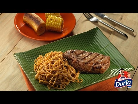 Asado con spaghetti doria sabor chorizo