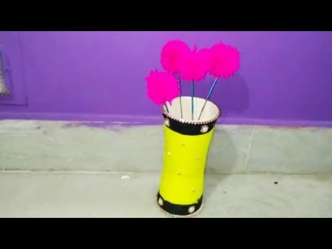 How to make flower vase with paper cups#best out of waste ideas#wollen craft ideas