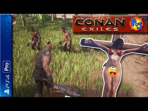Let's Play Conan Exiles | PvP Multiplayer Official Server | PS4 Pro Gameplay Part 1 (P+J)