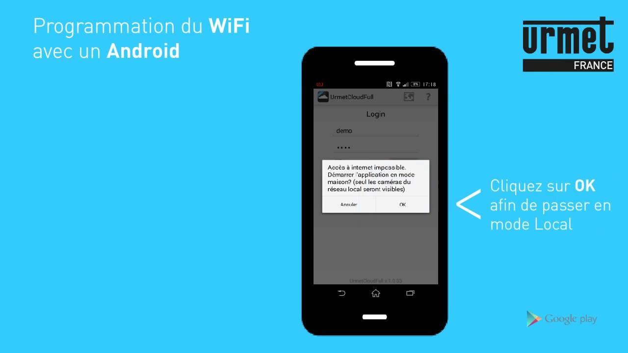 Configuration des cam ras ip wifi urmet cloud sous andro d for Urmet cloud