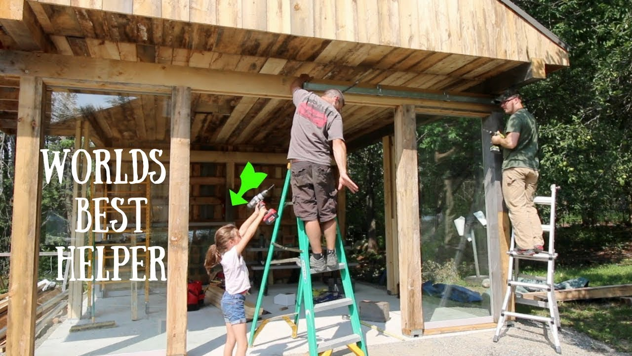Installing The Sliding Glass Front On The Off Grid Outdoor Kitchen