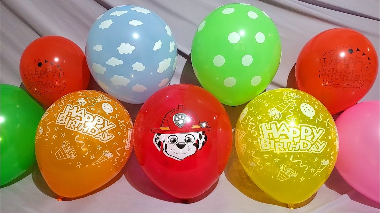 FUN MARSHALL PAW PATROL BIRTHDAY BALLOONS POP