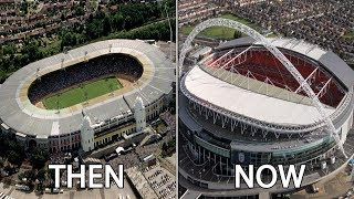 10 English Stadiums Then & Now   Ft. Wembley, Old Trafford, Anfield...