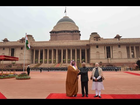 Ceremonial Reception of  Mohammed Bin Salman, Crown Prince of Saudi Arabia, at Rashtrapati Bhavan