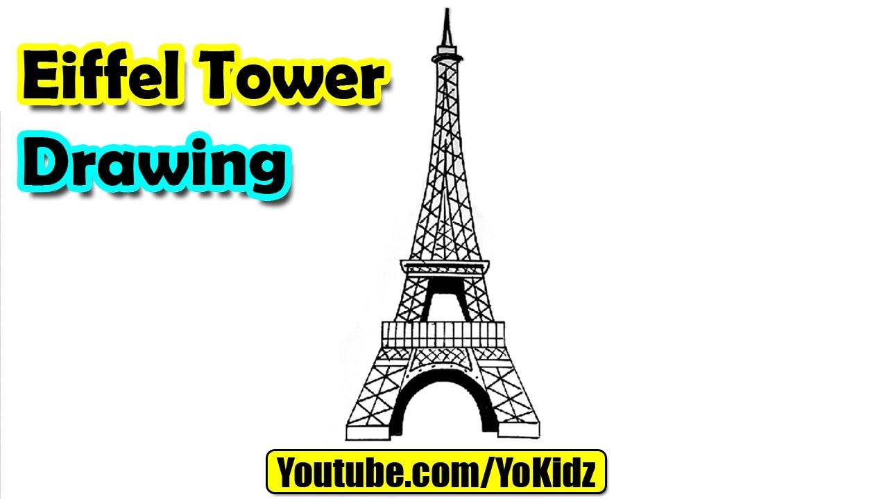 how to draw eiffel tower for kids