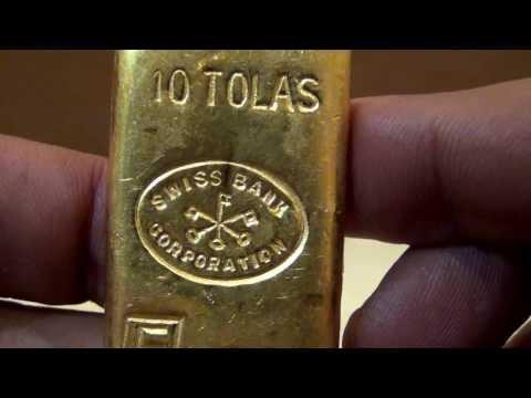 3.75 oz 10 Tolas Engelhard Swiss Bank Corporation Gold Bar .9999
