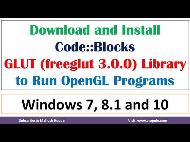 How to run CG OpenGL programs in windows | Code blocks | freeglut | glut library by Mahesh Huddar