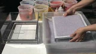 Papermaking dip mould demo