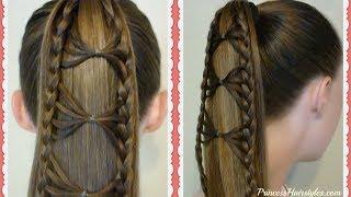 Adorable Bow Tie Braid Ponytail Hair Tutorial   Princess Hairstyles