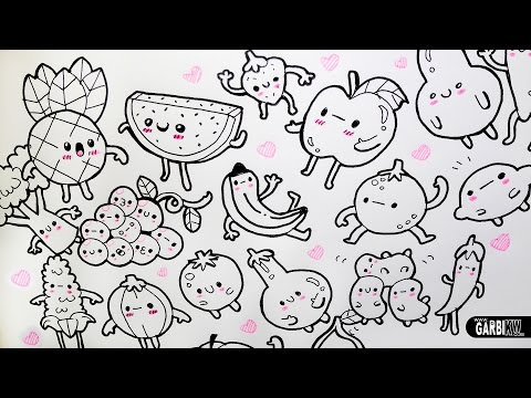 Kawaii Fruits and Vegetables ♥ 20 little Drawings for your doodles ♥ Easy Drawings by Garbi KW