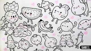 easy doodles kawaii drawings fruits vegetables garbi kw draw doodle fruit drawing simple dibujos frutas para verduras veggies cartoon designs